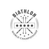 Distintivo di logo di biathlon Illustrazione di vettore Emblema isolato sport invernali Immagine Stock Libera da Diritti