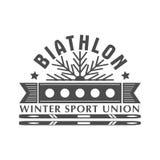 Distintivo di logo di biathlon Illustrazione di vettore Emblema isolato sport invernali per progettazione Immagini Stock Libere da Diritti