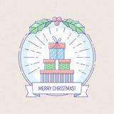 Distintivo di Natale e del nuovo anno con i contenitori di regalo Fotografia Stock
