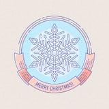 Distintivo di Natale e del nuovo anno con il fiocco di neve Fotografie Stock