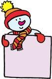 Distintivo di nome divertente del pupazzo di neve Fotografie Stock Libere da Diritti