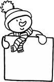 Distintivo di nome divertente del pupazzo di neve Immagini Stock Libere da Diritti