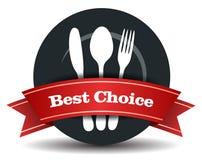 Distintivo di qualità dei prodotti alimentari del ristorante Fotografie Stock