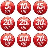 Distintivo di sconto di vendita di acquisto nel rosso Immagine Stock
