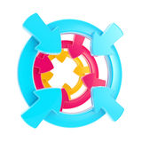 Distintivo di simbolo di attenzione della freccia isolato Fotografie Stock