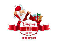 Distintivo di vendita di Natale, insegna rossa del nastro Immagine Stock