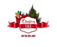 Distintivo di vendita di Natale, insegna rossa del nastro Immagini Stock