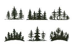 Distintivo di viaggio dell'albero della siluetta all'aperto del nero, cedro del ramo dell'abete rosso del pino delle cime ed estr illustrazione vettoriale
