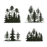 Distintivo di viaggio dell'albero della siluetta all'aperto del nero, cedro del ramo dell'abete rosso del pino delle cime ed estr illustrazione di stock