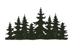 Distintivo di viaggio dell'albero della siluetta all'aperto del nero, cedro del ramo dell'abete rosso del pino delle cime ed estr royalty illustrazione gratis