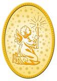Distintivo dorato di natale Fotografie Stock Libere da Diritti