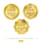 Distintivo dorato di qualità di vettore Fotografia Stock Libera da Diritti