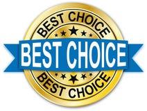 Distintivo dorato rotondo della medaglia della moneta di web di migliore garanzia choice blu Fotografia Stock