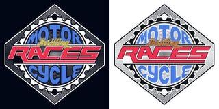 Distintivo eccitante delle corse del motociclo, maglietta Fotografie Stock
