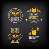 Distintivo ed etichetta del miele Progettazione astratta dell'ape Vettore con il grafico illustrazione di stock