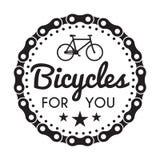 Distintivo/etichetta delle biciclette Bici per voi negozio su ordinazione royalty illustrazione gratis
