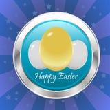 Distintivo felice di pasqua con le uova di Pasqua, uovo dorato con il nastro - vector eps10 royalty illustrazione gratis