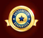 Distintivo garantito soddisfazione dorata Immagini Stock Libere da Diritti