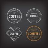 Distintivo geometrico d'annata del modello di logo del menu del caffè Alimento d di vettore Fotografia Stock