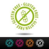 Distintivo libero del glutine, logo, icona Illustrazione piana di vettore su fondo bianco Può essere la società usata di affari illustrazione vettoriale