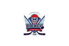 Distintivo Logo Design dell'hockey Sport Team Identity Label dei grafici Immagini Stock
