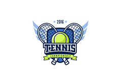 Distintivo Logo Design di tennis Etichetta di identità di sport dei grafici della maglietta Fotografia Stock Libera da Diritti