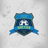 Distintivo Logo Emblem Design Templates di calcio di calcio Immagine Stock