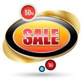 Distintivo moderno di vendita con la struttura dell'oro Immagini Stock