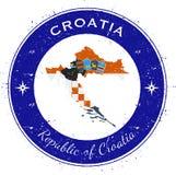 Distintivo patriottico circolare della Croazia Fotografie Stock Libere da Diritti