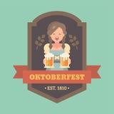 Distintivo piano dell'illustrazione di Oktoberfest illustrazione di stock