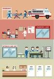 Distintivo piano dell'insegna del fumetto dei dipartimenti importanti Immagini Stock