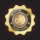 Distintivo premio dorato di qualità Immagini Stock