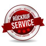 Distintivo rosso di servizio posteriore di chiamata - Tedesco-traduzione: Servizio del ckruf del ¼ di RÃ royalty illustrazione gratis
