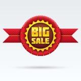 Distintivo rosso di vendita con ombra su cenni storici bianchi. Immagine Stock