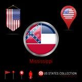 Distintivo rotondo di vettore di Chrome con la bandiera dello stato USA del Mississippi Bandiera dello stendardo di U.S.A. Puntat illustrazione di stock