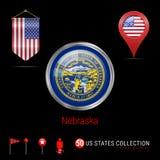 Distintivo rotondo di vettore di Chrome con la bandiera dello stato USA del Nebraska Bandiera dello stendardo di U.S.A. Puntatore illustrazione di stock