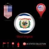 Distintivo rotondo di vettore di Chrome con la bandiera dello stato USA del Virginia Occidentale Bandiera dello stendardo di U.S. illustrazione di stock