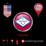 Distintivo rotondo di vettore di Chrome con la bandiera dello stato USA dell'Arkansas Bandiera dello stendardo di U.S.A. Puntator illustrazione di stock