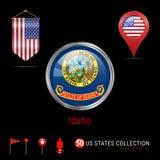 Distintivo rotondo di vettore di Chrome con la bandiera dello stato USA dell'Idaho Bandiera dello stendardo di U.S.A. Puntatore d illustrazione vettoriale