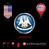 Distintivo rotondo di vettore di Chrome con la bandiera dello stato USA della Luisiana Bandiera dello stendardo di U.S.A. Puntato royalty illustrazione gratis