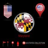 Distintivo rotondo di vettore di Chrome con la bandiera dello stato USA di Maryland Bandiera dello stendardo di U.S.A. Puntatore  royalty illustrazione gratis