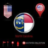 Distintivo rotondo di vettore con la bandiera dello stato USA della Nord Carolina Bandiera dello stendardo di U.S.A. Puntatore de illustrazione vettoriale