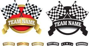 Distintivo, simbolo o icona su bianco per la corsa del motore Immagine Stock