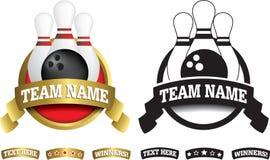 Distintivo, simbolo o icona su bianco per un bowling di dieci perni Fotografia Stock Libera da Diritti