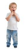 Distorsione di velocità! Un ragazzo di tre anni si è sorpreso Immagini Stock