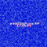 Distorted  binary code on blue. Glitched Word Error. Abstract Background. Vector Illustration. Vector EPS-10 Royalty Free Stock Photo