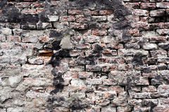 Distorted brick wall. Broken brick all from an abandoned buidling Royalty Free Stock Photo