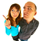 Distorted couple. Aggressive pair photographed by the fish eye Stock Image