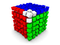 Distorted cube with RGB. (red, green, blue) sides made of small equal cubes on white background Royalty Free Stock Image