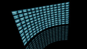 Distorted curved video wall turn to left. 3D rendering Royalty Free Stock Images